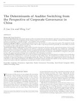 lin and liu - 2009 - the determinants of auditor switching from the perspective of corporate governance in china