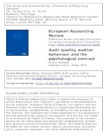 herrbach - 2001 - audit quality, auditor behaviour and the psychological contract