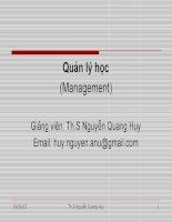 Slide bài giảng môn khoa học quản lý: Chương 1: tổng quan về quản lý tổ chức