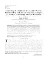 myers et al - 2003 - exploring the term of the auditor-client relationship and the quality of earnings a case for mandatory auditor rotation