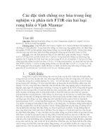 Các đặc tính chống oxy hóa trong ống nghiệm và phân tích FTIR của hai loại rong biển ở vịnh mannar