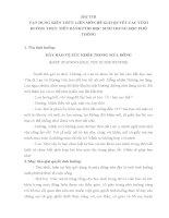 BÀI THI VẬN DỤNG KIẾN THỨC LIÊN MÔN ĐỂ GIẢI QUYẾT CÁC TÌNH HUỐNG THỰC TIỄN DÀNH CHO HỌC SINH TRUNG HỌC PHỔ THÔNG
