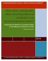 """How ethics and gender affect mixed genders of students in accounting universities?"" (Comparing two different accounting faculties in two different universities in Ha Noi)"