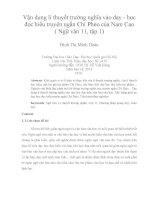 vận dụng lí thuyết trường nghĩa vào dạy - học đọc hiểu truyện ngắn chí phèo của nam cao ( ngữ văn 11, tập 1)