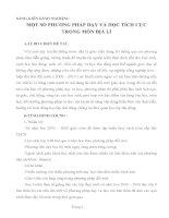 SÁNG KIẾN KINH NGHIỆM : MỘT SỐ PHƯƠNG PHÁP DẠY VÀ HỌC TÍCH CỰC TRONG MÔN ĐỊA LÍ
