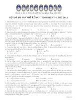 Tổng hợp một số bài tập Vật Lý hay và khó có đáp án trong mùa thi thử ĐH
