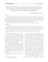 KHẢO SÁT THỊ HIẾU ĂN UỐNG CỦA KHÁCH HÀNG NHẰM XÁC ĐỊNH XU HƯỚNG ẨM THỰC TRONG KINH DOANH MÓN VIỆT TẠI THÀNH PHỐ HỒ CHÍ MINH