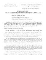 Bài thu hoạch Nghị quyết TW6 (khóa XI)