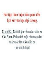 Giới thiệu về ca dao-dân ca Việt Nam. Phân tích một chùm ca dao hoặc một làn điệu dân ca
