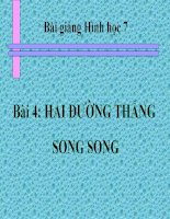 bài giảng hình học 7 chương 1 bài 4 hai đường thẳng song song