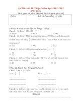 Đề thi cuối kì II lớp 4 môn toán năm học 2012-2013