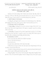 HƯỚNG DẪN TUYỂN SINH VÀO LỚP 10 TRƯỜNG THPT DTNT TỈNH VĨNH PHÚC NĂM HỌC 2013-2014