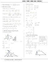 Bảng công thức hình học phẳng THPT
