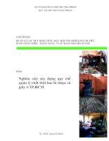 nghiên cứu xây dựng quy chế quản lý chất thải bao bì nhựa và giấy ở tp. hồ chí minh