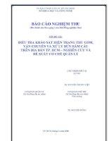 Báo cáo khoa học : Điều tra khảo sát hiện trạng thu gom, vận chuyển, xử lý bùn hầm cầu trên địa bàn TP.HCM, Nghiên cứu và đề xuất cơ chế quản lý