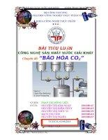 tiểu luận quy trình công nghệ sản xuất nước giải khát có gas