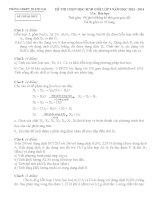 đề và đáp án thi HSG hóa 9 2013-2014
