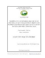 nghiên cứu cơ sở khoa học đề xuất phương án quy hoạch phát triển lâm nghiệp giai đoạn 2015-2020 tại xã cao kỳ, huyện chợ mới - tỉnh bắc kạn