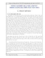 NÂNG CAO HIỆU QUẢ VIỆC ỨNG DỤNG CNTT  TRONG GIẢNG DẠY MÔN NGỮ VĂN THCS
