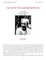 Các bài viết về học giả Nguyễn Hiến Lê