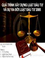 tiểu luận môn luật kinh doanh quá trình xây dựng luật đầu tư và sự ra đời luật đầu tư 2005