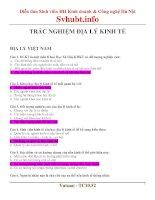 Bài tập trắc nghiệm có đáp án Địa lý kinh tế Việt Nam