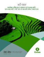 Sổ tay Hướng dẫn quy hoạch sử dụng đất và Giao đất cấp xã có người dân tham gia