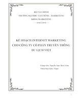 kế hoạch internet marketing cho công ty cổ phần truyền thông du lịch việt