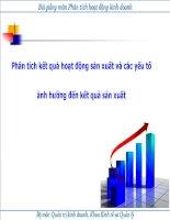Phân tích kết quả hoạt động sản xuất và các yếu tố ảnh hưởng đến kết quả sản xuất