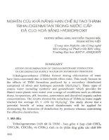 Nghiên cứu khả năng hạn chế sự tạo thành Trihalogenmetan trong nước cấp đã Clo hóa bằng Hydropeoxit