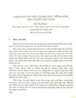 Văn hóa với việc giảng dạy tiếng Hán cho người Việt Nam