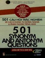 501 câu hỏi trắc nghiệm về cách dùng từ đồng nghĩa và phản nghĩa tiếng Anh Mẫu đề thi và đáp án