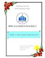 ĐỀ TÀI: SPECIALIZED ENGLISH: Nước mắm Phú Quốc