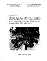 Nghiên cứu quy hoạch môi trường phục vụ đô thị hóa, công nghiệp hóa cho quận Thủ Đức đến năm 2010 và định hướng 2020