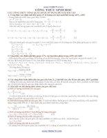 Công thức sinh học tổng quát để giải toán ôn thi tốt nghiệp THPT quốc gia 2015