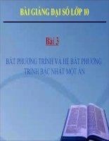 Bài giảng Đại số 10 chương 4 bài 2 Bất phương trình và hệ bất phương trình một ẩn
