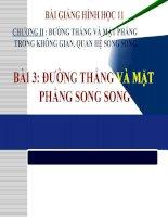 Bài giảng Hình học 11 chương 2 bài 3 Đường thẳng và mặt phẳng song song