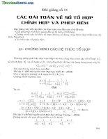 Bài giảng 11 Các bài toán về tổ hợp chỉnh hợp và phép đếm luyện thi tốt nghiệp THPT quốc gia 2015