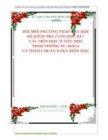 ĐỔI MỚI PHƯƠNG PHÁP DẠY HỌC ĐỀ KIỂM TRA CUỐI HỌC KÌ I  CÁC MÔN HỌC Ở TIỂU HỌC THEO THÔNG TƯ 302014  VÀ THEO CHUẨN KTKN MÔN HỌC.