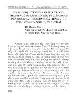 So sánh đặc trưng văn hóa trong thành ngữ so sánh có yếu tố liên quan đến động vật ( TNSSĐV) của tiếng Việt với các ngôn ngữ hệ Tày - Thái