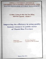 Improving the efficiency in using quality human resource in public sector of Thanh Hoa province