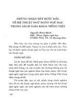 Những nhận xét bước đầu về hệ thuật ngữ ngôn ngữ học trong sách giáo khoa tiếng Việt