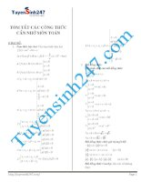tóm tắt công thức toán cấp 3