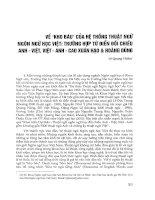 Về  kho báu  của hệ thống thuật ngữ ngôn ngữ học Việt  Trường hợp từ điển đối chiếu Anh - Việt, Việt - Anh - Cao Xuân Hạo  Hoàng Dũng