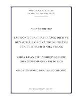 Tác động của chất lượng dịch vụ đến sự hài lòng và lòng trung thành của du khách ở Nha Trang