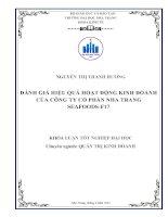 Đánh giá hiệu quả hoạt động kinh doanh của Công ty cổ phần Nha Trang Seafoods - F17