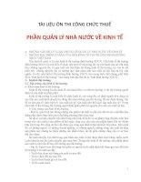 TÀI LIỆU ÔN THI CÔNG CHỨC THUẾ PHẦN QUẢN LÝ NHÀ NƯỚC VỀ KINH TẾ