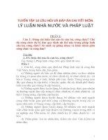 TUYỂN TẬP 10 CÂU HỎI VÀ ĐÁP ÁN CHI TIẾT MÔN LÝ LUẬN NHÀ NƯỚC VÀ PHÁP LUẬT
