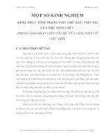 SKKN.KHẮC PHỤC TÌNH TRẠNG VIẾT CHỮ XẤU, VIẾT SAI CỦA HỌC SINH LỚP 1