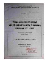 Chính sách kinh tế mới với vấn đề hoà hợp dân tộc ở Malaixia giai đoạn 1971-1990